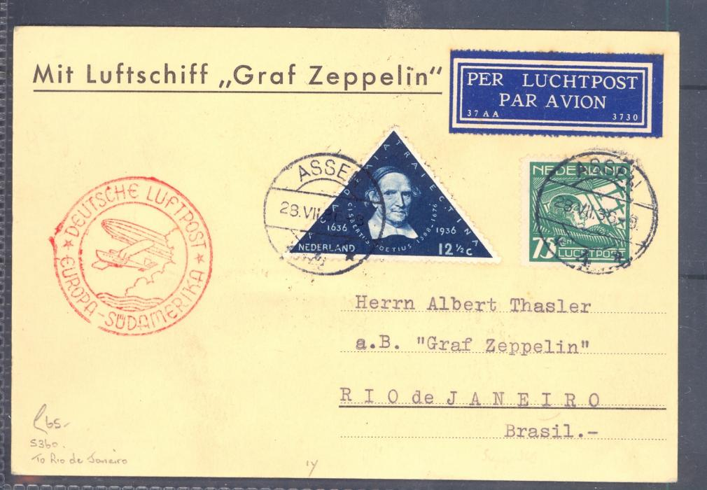 Zeppelin  Cover Netherland to Brazil 1936.