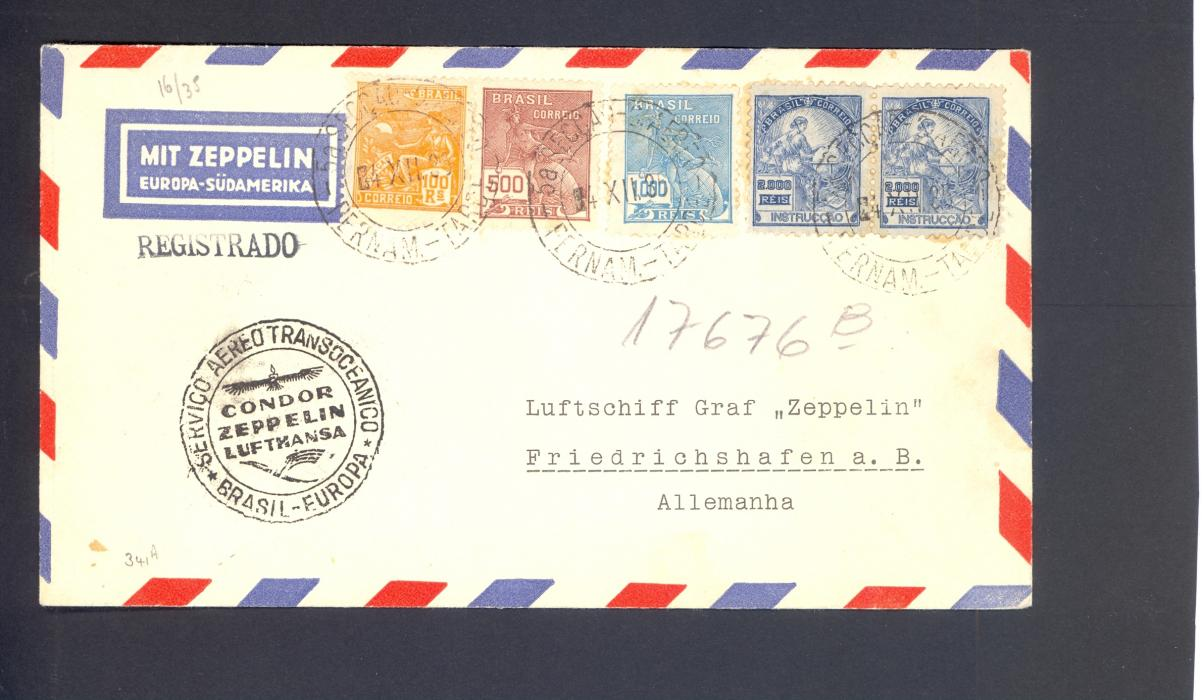 Zeppelin Cover Brazil to Germany. Sieger 341A