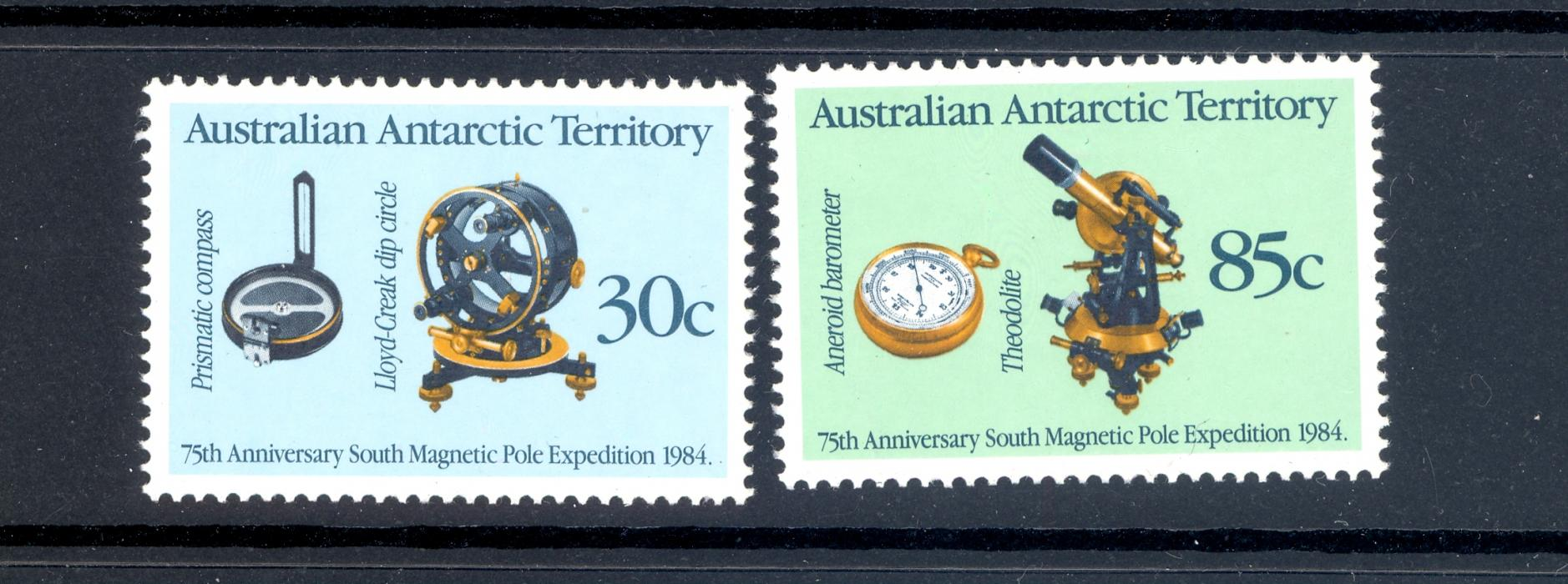 Australian Antarctic Territory SG 61-62 1984 Anniversary of Magnetic Pole Expedition Pair. MNH